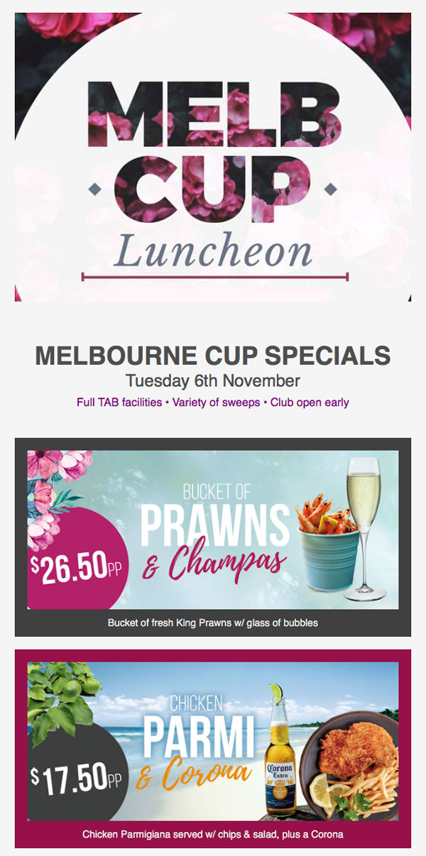 selection of specials for melbourne cup